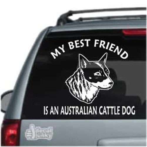 Best Friend Realistic Australian Cattle Dog Head Car Window Decal