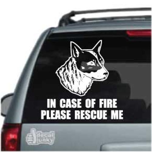 Fire Rescue Australian Cattle Dog Head Car Window Decal