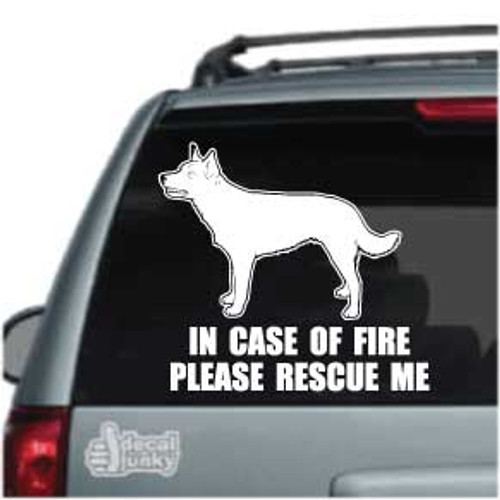 Fire Rescue Australian Kelpie Standing Car Window Decal