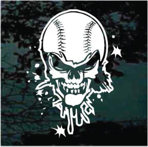 Baseball Skull Window Decals
