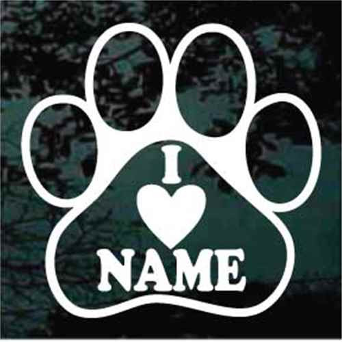 I Heart Name Paw Decals