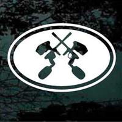 Oval Paintball Guns Crossed Decals