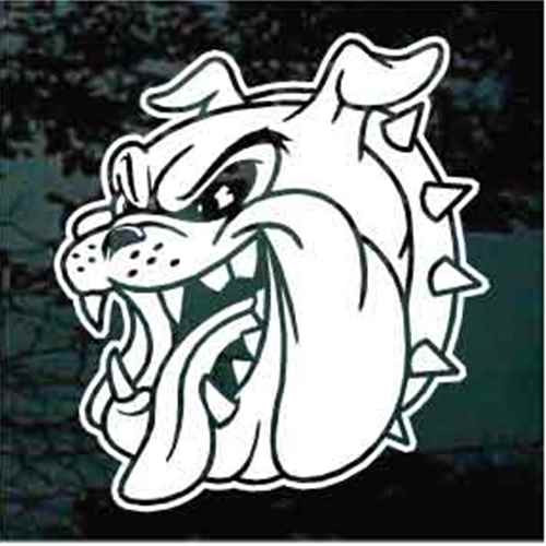Bulldog Head Mascot Window Decal