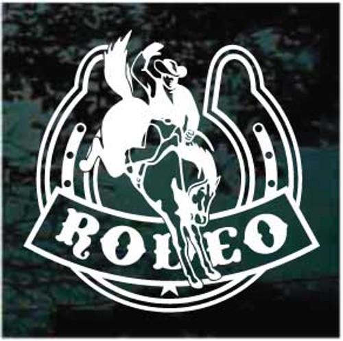 Bucking Bronco Rodeo Horseshoe Window Decal