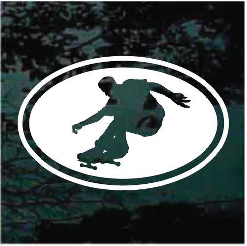 Skateboarder Skateboarding Oval Window Decals