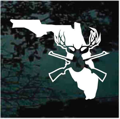 Florida State Deer Hunter With Guns Crossed Decals