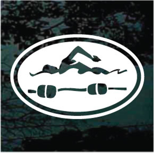 Lap Swimmer Oval Decals