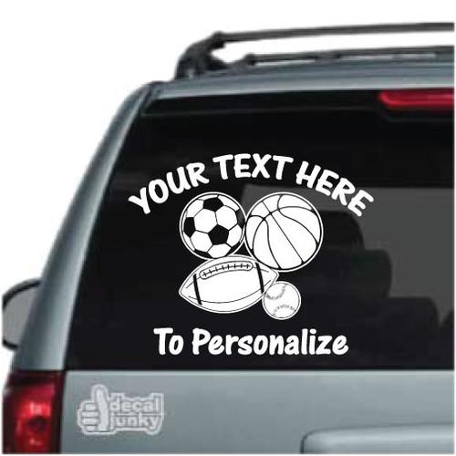 Football Baseball Hockey Basketball Soccer Window Car Vinyl Decal Sticker Custom