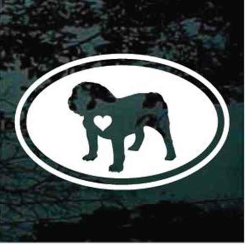 English Bulldog Heart Oval Window Decal
