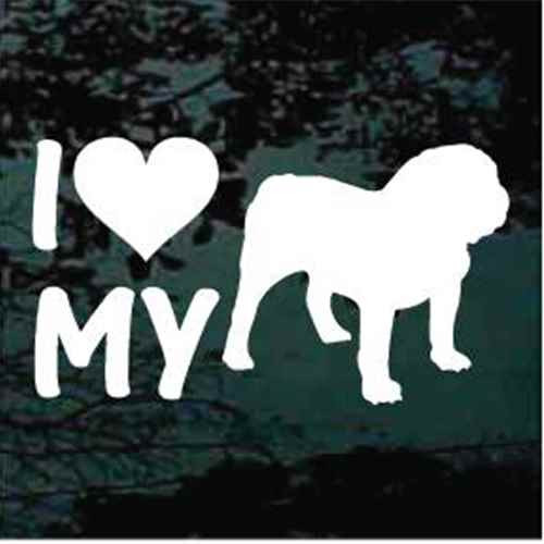 I Heart My English Bulldog Window Decals