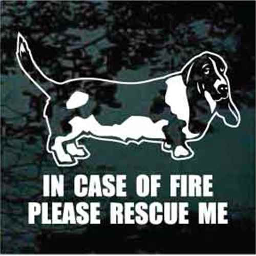 Basset Hound Standing Fire Rescue Window Decals