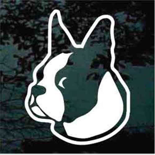 Boston Terrier Head Looking Window Decals