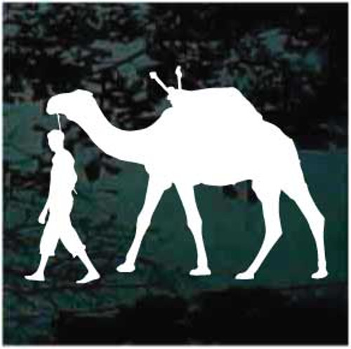 Man Walking Camel Window Decals