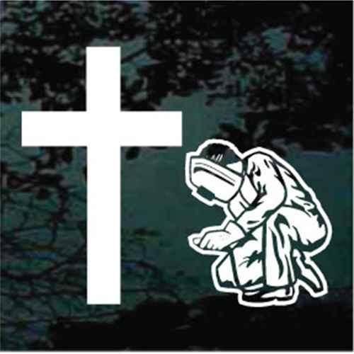 Welder Praying at the Cross Car Window Decals