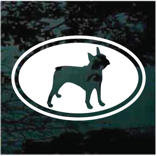 Oval Boston Terrier Cut Out Decals