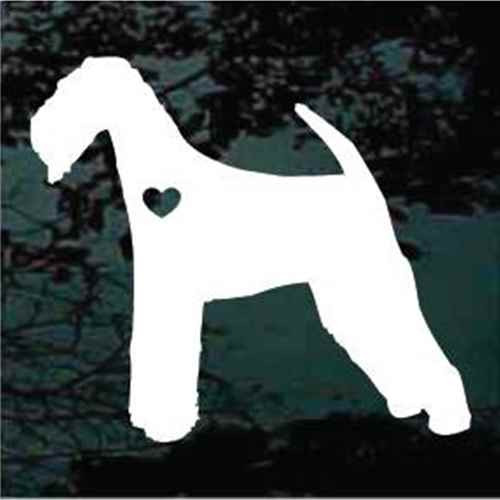 Airedale Terrier With Heart Window Decal