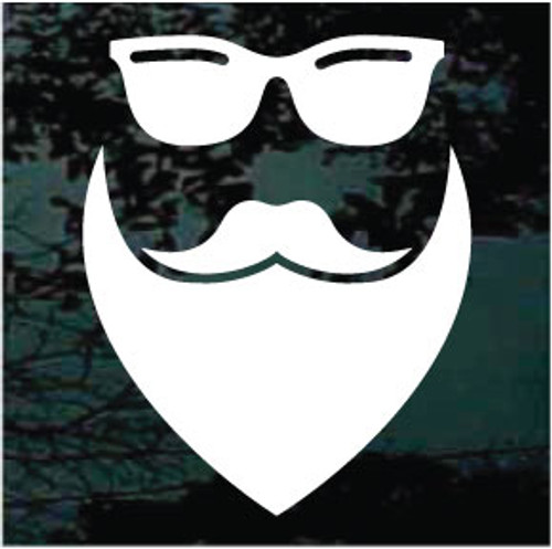Hipster Face Wearing Sunglasses Window Decals
