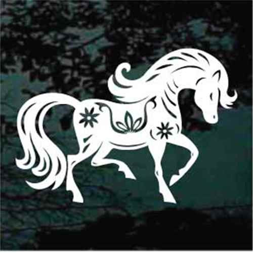 Decorative Horse With Flowers Decals