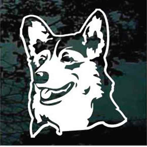Happy Face Australian Shepherd Head Window Decal