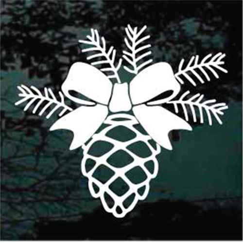 Pine Cone With A Bow Window Decals