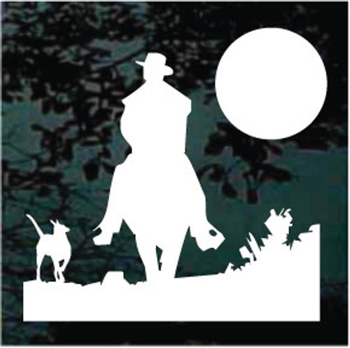 Cowboy Riding With Dog Into Sunset Window Decals
