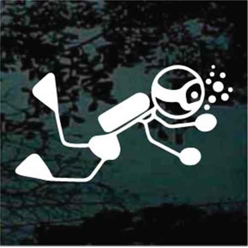 Stick Figure Scuba Diver Decals
