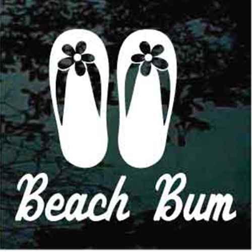 Beach Bum Girl Flip Flops Window Decals