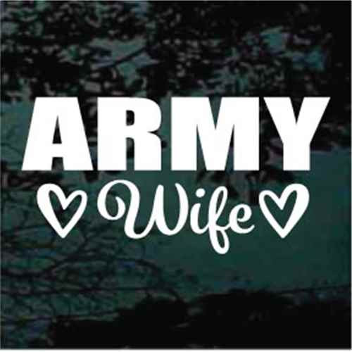 Army Wife With Hearts Window Decals