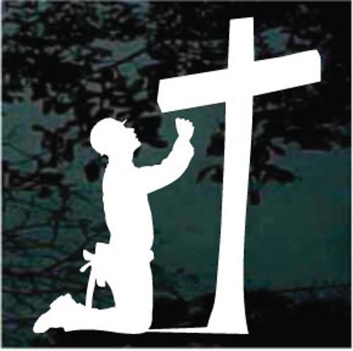 Construction Worker Praying Cross