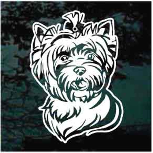 Sweet Yorkshire Terrier Head Window Decals