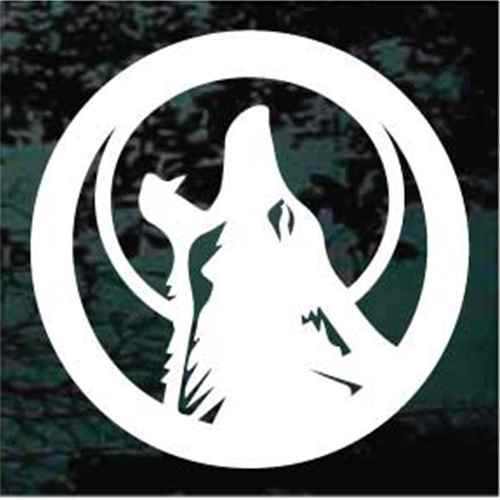 Round Coyote Howling Window Decals