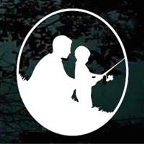 Father and Son Fishing Oval
