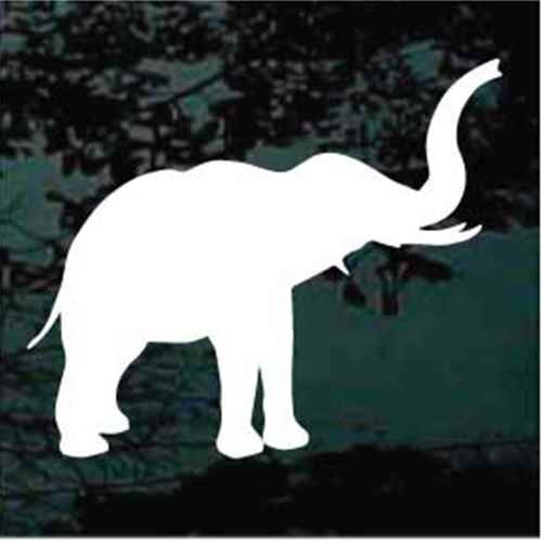 Solid Elephant With Raised Trunk Window Decals