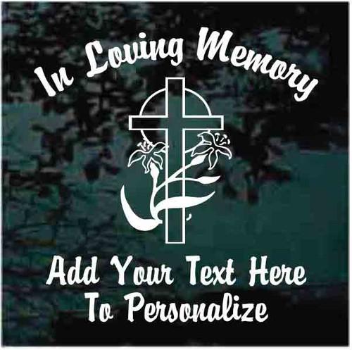 Cross With Lilies Memorial Decals