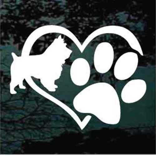 Australian Terrier Heart Paw Window Decal