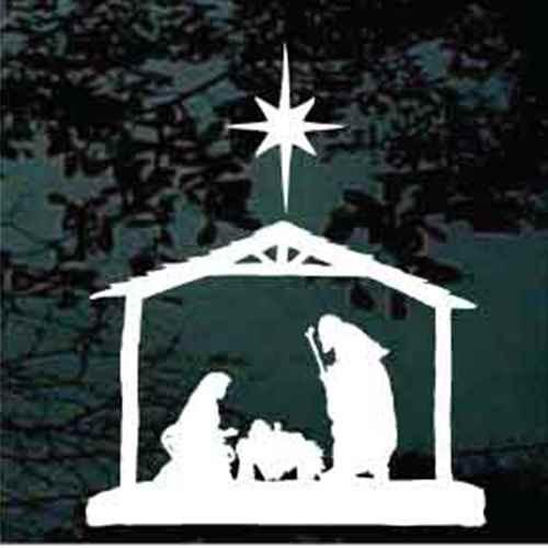 Manger Nativity Scene With North Star Decals