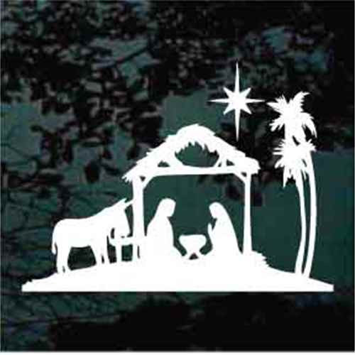 Nativity Scene With Donkey & North Star Decals