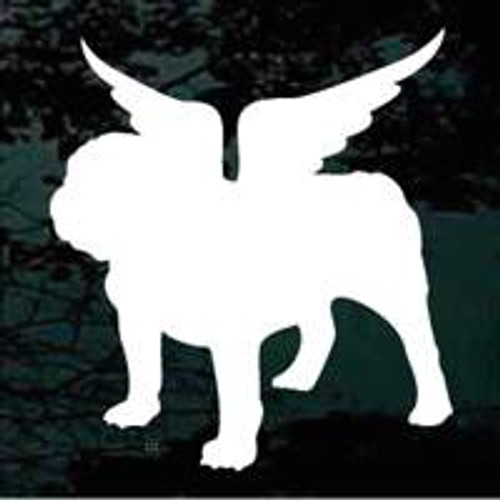English Bulldog Angel Wings Window Decal