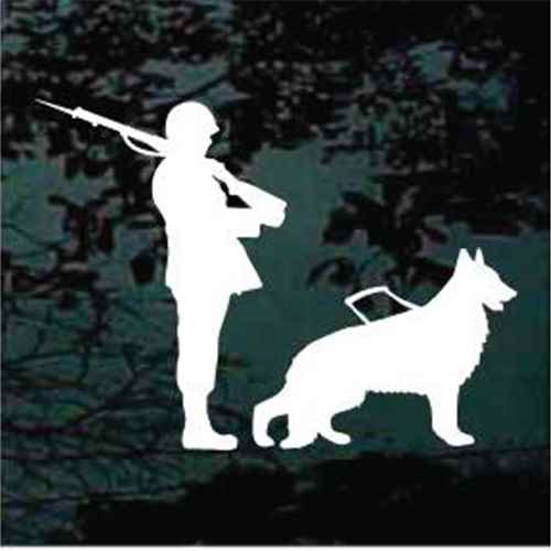 Soldier With German Shepherd Service Dog Window Decal