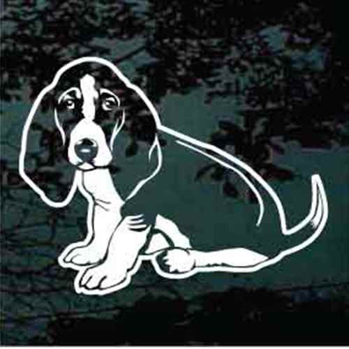 Basset Hound Sitting Window Decals