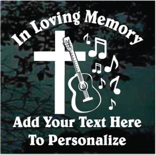 Cross with Guitar Memorial Decals