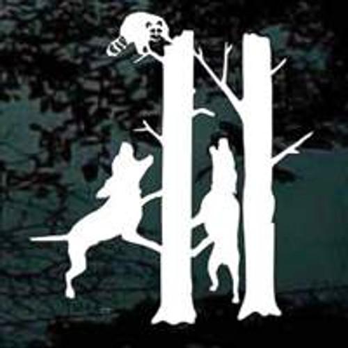 Coonhounds Treeing Raccoon Decals
