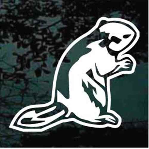 Beaver Sitting Window Decals