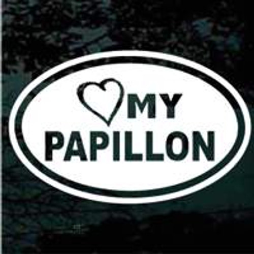 Oval Heart My Papillon Window Decal