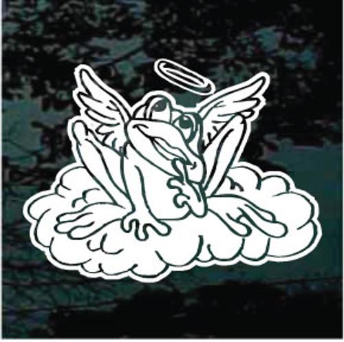 Frog Angel On Cloud Window Decals