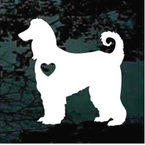 Afghan Hound Dog With Heart Decal