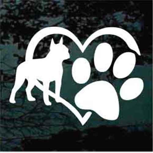 Boston Terrier Heart Paw Window Decal