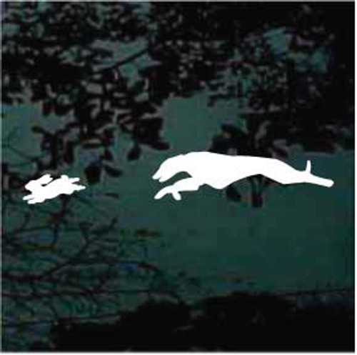 Greyhound Chasing Rabbit Window Decal