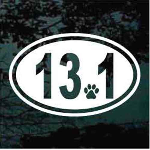 13.1 Half Marathon With Paw Print Decals