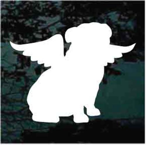 Bulldog Silhouette Sitting Angel Window Decals